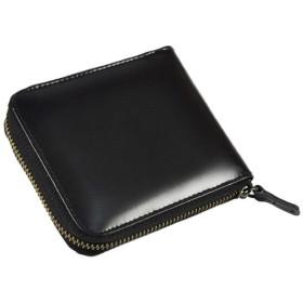 馬革ラウンドファスナー短財布 艶と質感 スマートでオリジナリティ溢れるデザイン シックにまとめた渾身の逸品 ブラック