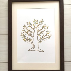 【名入れ可能】原画 家族の木 ファミリーボード