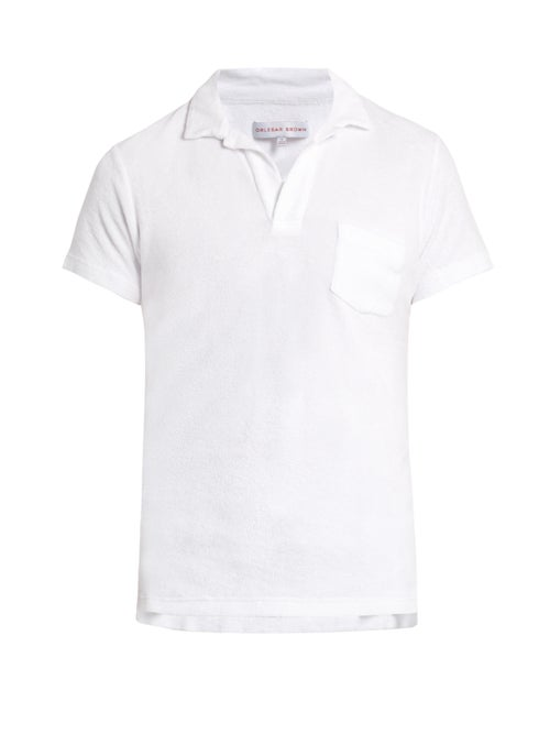 Orlebar Brown - Terry-towelling Cotton Polo Shirt - Mens - White