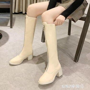高跟粗跟長筒靴女不過膝長靴高筒馬丁靴帥氣騎士靴網紅前拉鏈皮靴  koko時裝店 喜迎新春