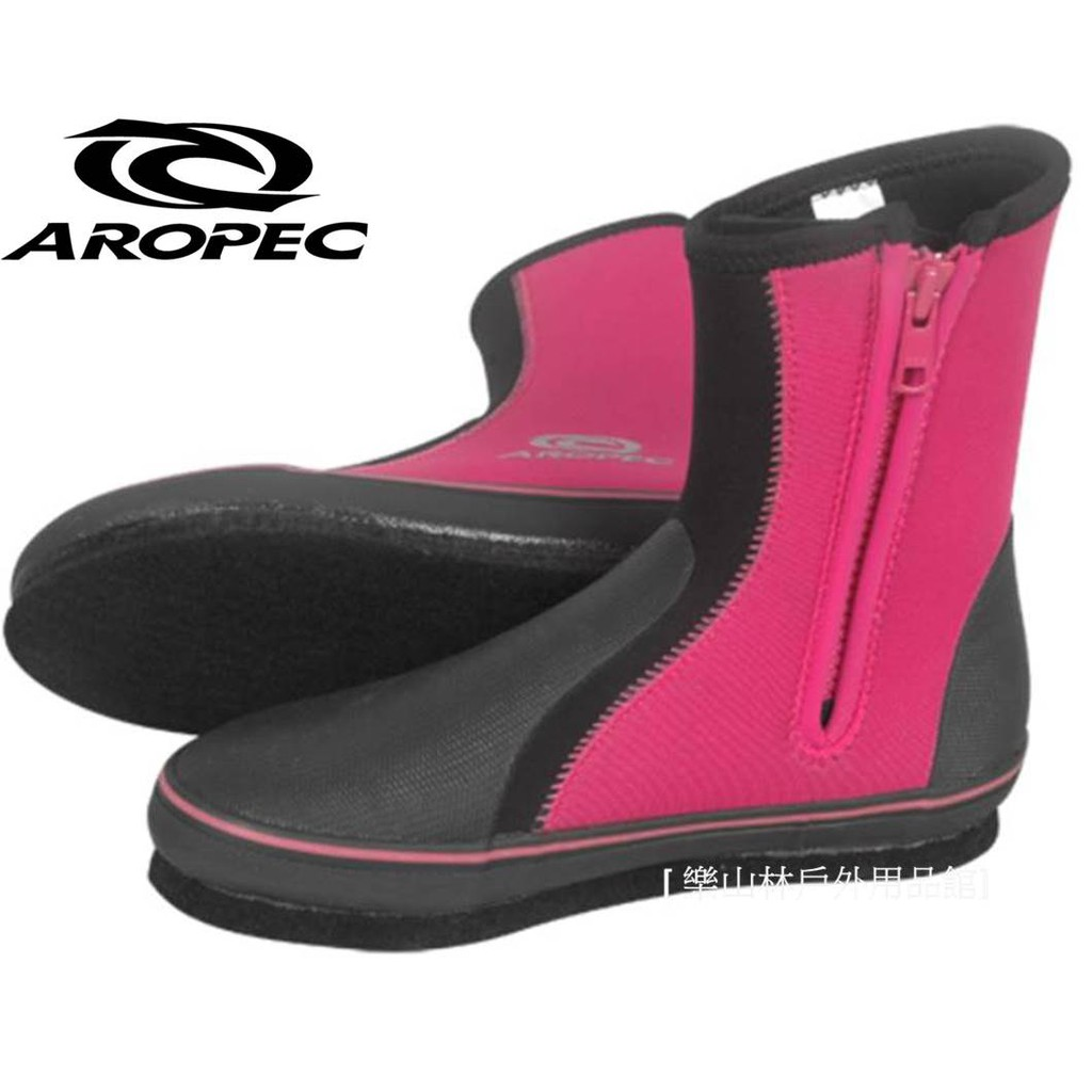 【AROPEC】台灣-5mm Neoprene長筒毛氈底防滑水鞋-粉(BT-50BF-DPK)