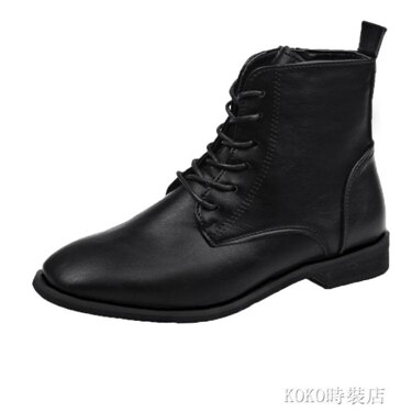 方頭短靴女平底新款秋冬帥氣馬丁靴百搭英倫風拉鏈黑色小短靴 koko時裝店 全館八八折