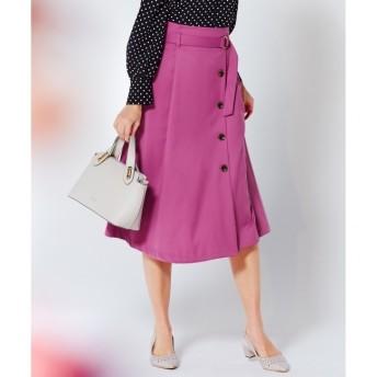 【エニィスィス/any SiS】 【洗える】フロントイレギュラーヘムフレア スカート