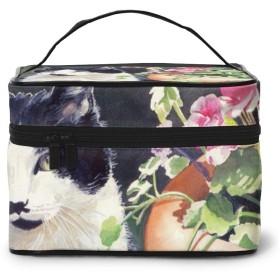 メイクポーチ 化粧ポーチ コスメバッグ バニティケース トラベルポーチ 田園猫 花壇 雑貨 小物入れ 出張用 超軽量 機能的 大容量 収納ボックス