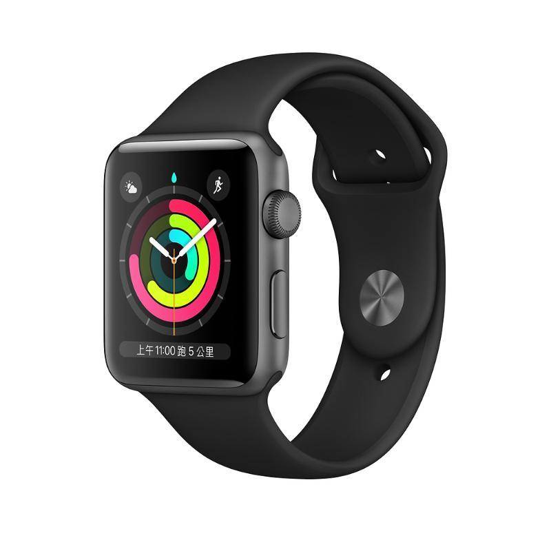 Apple Watch S3 GPS 38mm 太空灰色鋁金屬-黑色運動錶帶 (2019版)