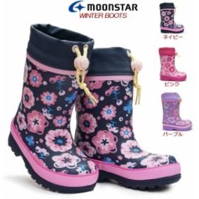 ムーンスター 子供長靴 WC017R レインシューズ 防寒 ゴム長 雪国寒冷地仕様 女の子用 花柄 MoonStar