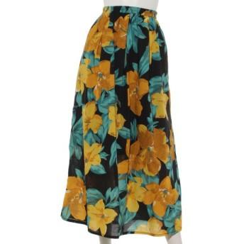 40%OFF INTERPLANET (インタープラネット) 綿ローンリゾートフラワープリントスカート 花柄 ブラック