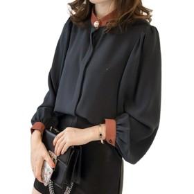 [マユヒナ] パール ボタン ブラウス レディース トップス ゆったり 着やせ きれいめ オフィス シンプル シャツ 体型 カバー カットソー チュニック 大きめ (紺, L)