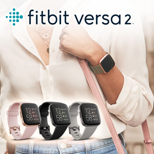 Fitbit Versa 2 ( 碳黑框黑色錶帶) 智慧體感記錄器 經典款 運動手環 智慧手環 防水 公司貨 保固一年