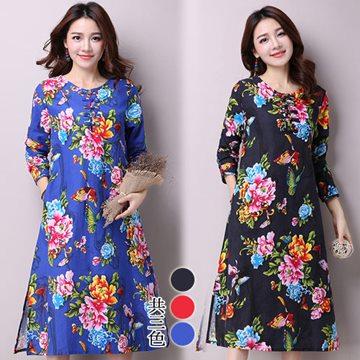 【韓國K.W.】M~XL現貨中式棉麻復古印花洋裝