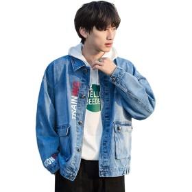 デニムジャケット メンズ ジージャン 長袖綿通勤大きいサイズ 原宿風 秋冬服 カジュアル ファッション (ブルー, 3XL=日本XL)