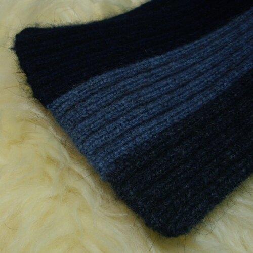兒童款水藍直條紋紐西蘭貂毛羊毛圍巾9.5公分寬