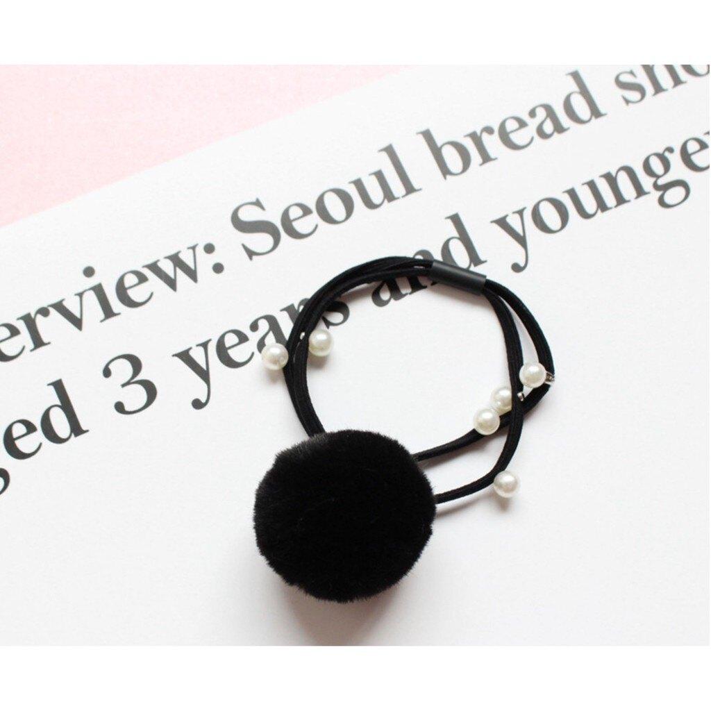 現貨 韓國東大門 毛球珍珠髮圈 髮繩 束繩 毛球髮束 手環