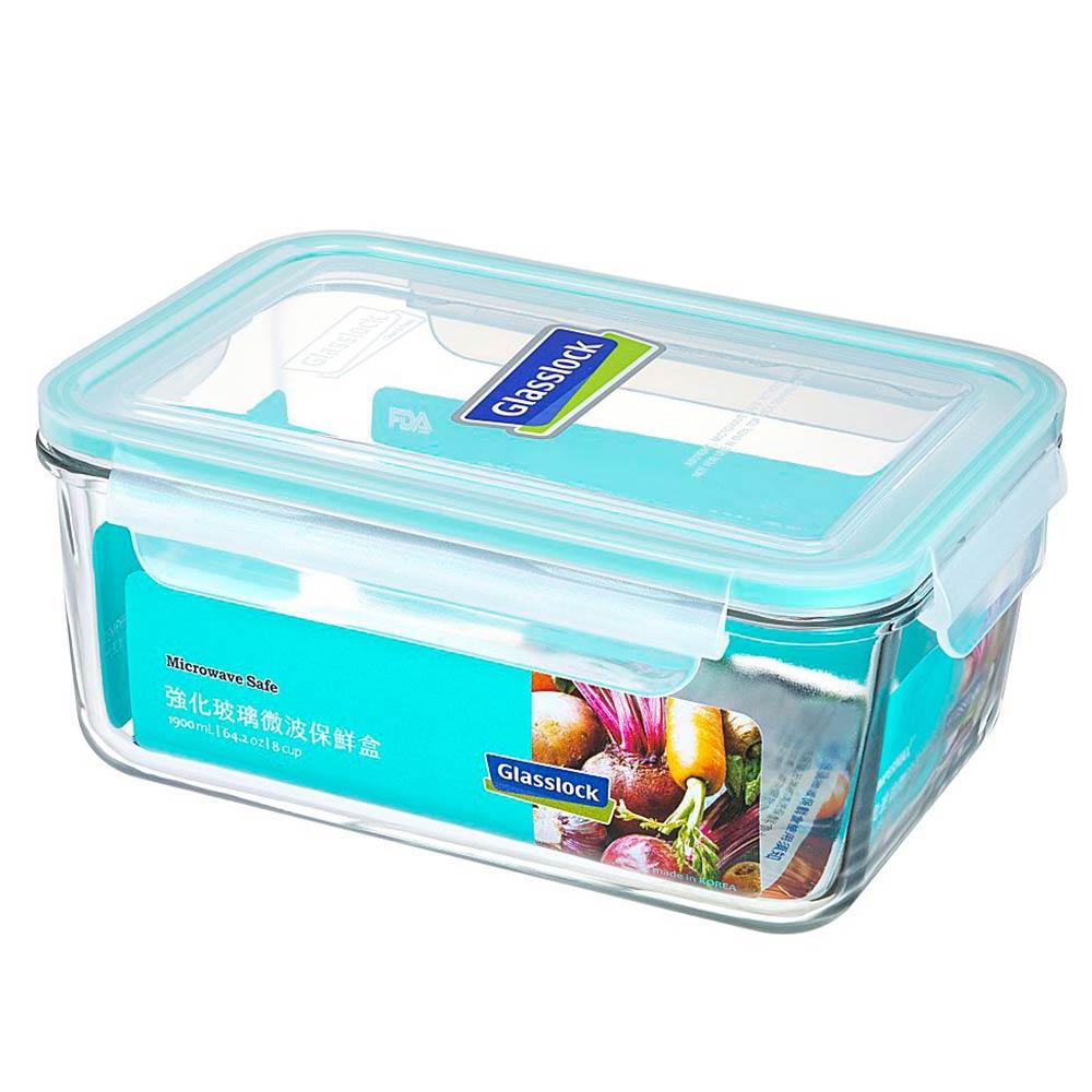 【買一送一】Glasslock 強化玻璃保鮮盒 - 長方形1900ml/韓國製造/可微波/儲存收納食材/耐瞬間溫差120度/減塑餐盒