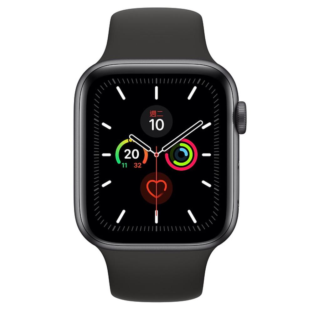 Apple Watch S5 GPS 44mm 太空灰色鋁金屬-黑色運動型錶帶
