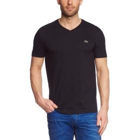 ラコステメンズVネックレギュラーフィットTシャツ、ブラック、ミディアム(サイズ:4)