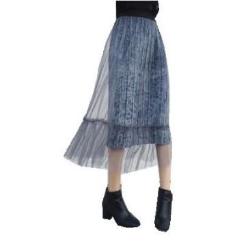 グレー ウエストゴムロング  チュール一層 プリーツスカート