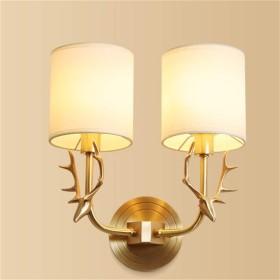 ウォールランプベッドサイドライトE14  2ソケット壁Sonce備品布シェード真鍮メッキ装飾用キッチンリビングルーム廊下階段(電球なし)