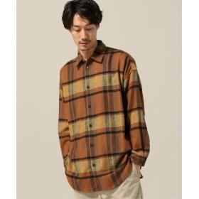 B.C STOCK リサイクルウールチェックビッグシャツコート オレンジ B M