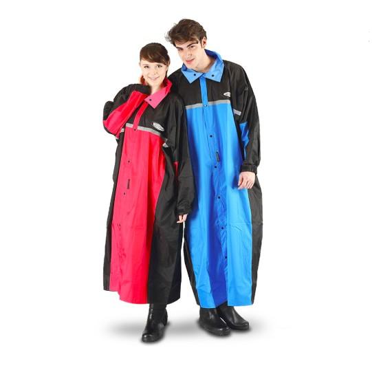 天龍牌 競速型 SPORT 一件式 前開式 連身式 防水 防寒 雨衣 黑/紅