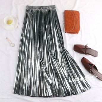 全4色 ロング丈スカート プリーツ 韓国風 パーティ お呼ばれ ゴージャス オータム 秋冬 メタリック