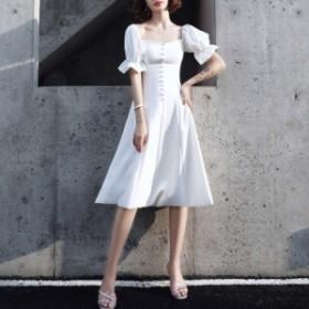 ドレス パーティードレス お呼ばれドレス 結婚式 お呼ばれ ヒザ丈 ワンピース 大きいサイズ 袖あり 20代 30代 長袖 3660