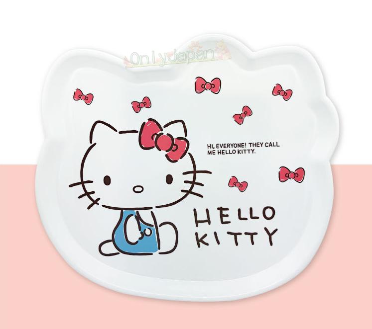 凱蒂貓kitty 餐盤 咖哩盤 義大利麵盤 美耐皿 造型碗 水果盤 盤子 8809604169302 頭型美耐皿餐盤L-KT粉結側坐 真愛日本