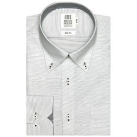 [マルイ] 形態安定 ノーアイロン 長袖ワイシャツ ドゥエボットーニ ボタンダウン グレー(静電気防止)/ブリックハウス(BRICKHOUSE)