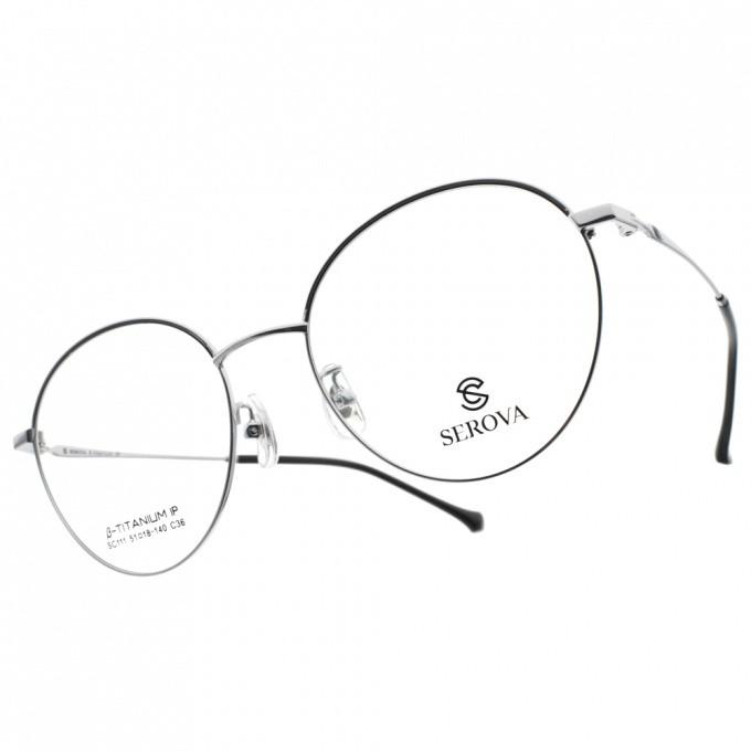 SEROVA 光學眼鏡 SC111 C36 韓風大圓框款-金橘眼鏡