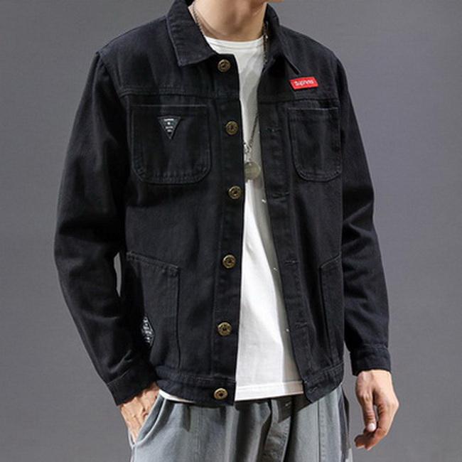 FOFU-牛仔外套日系潮流夾克寬鬆長袖牛仔外套【08B-F0657】