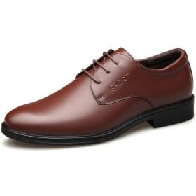 [xinsuinidong] 新しいメンズビジネスドレスシューズメンズ革通気性カジュアル作業靴(ブラウン)26.0cm