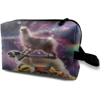 Llama On Pug Riding 収納ポーチ 化粧ポーチ 大容量 軽量 耐久性 ハンドル付持ち運び便利。入れ 自宅・出張・旅行・アウトドア撮影などに対応。メンズ レディース トラベルグッズ