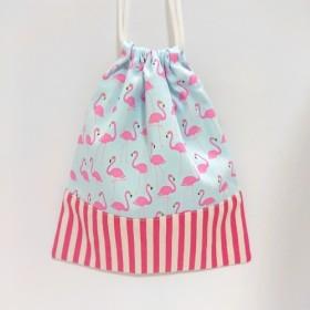 フラミンゴ柄 巾着 給食袋 コップ袋 サックス