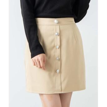 WEGO WEGO/フロントアソートボタンスカート(ベージュ)【返品不可商品】