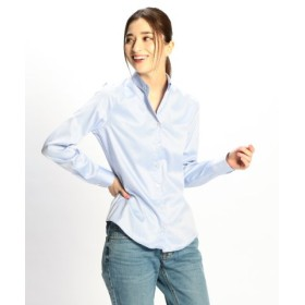 (NARA CAMICIE/ナラカミーチェ)コットンツィルスモールカラー長袖シャツ/レディース ブルー