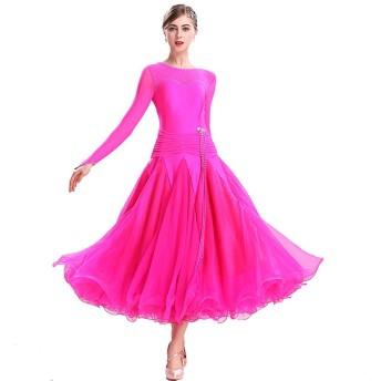 長袖ラウンドネックモダンダンスのドレスは、大きなスイングスカート社交ダンスの競技スカート社交ダンスの練習スカートをワルツ (Color : Rose red, Size : S)
