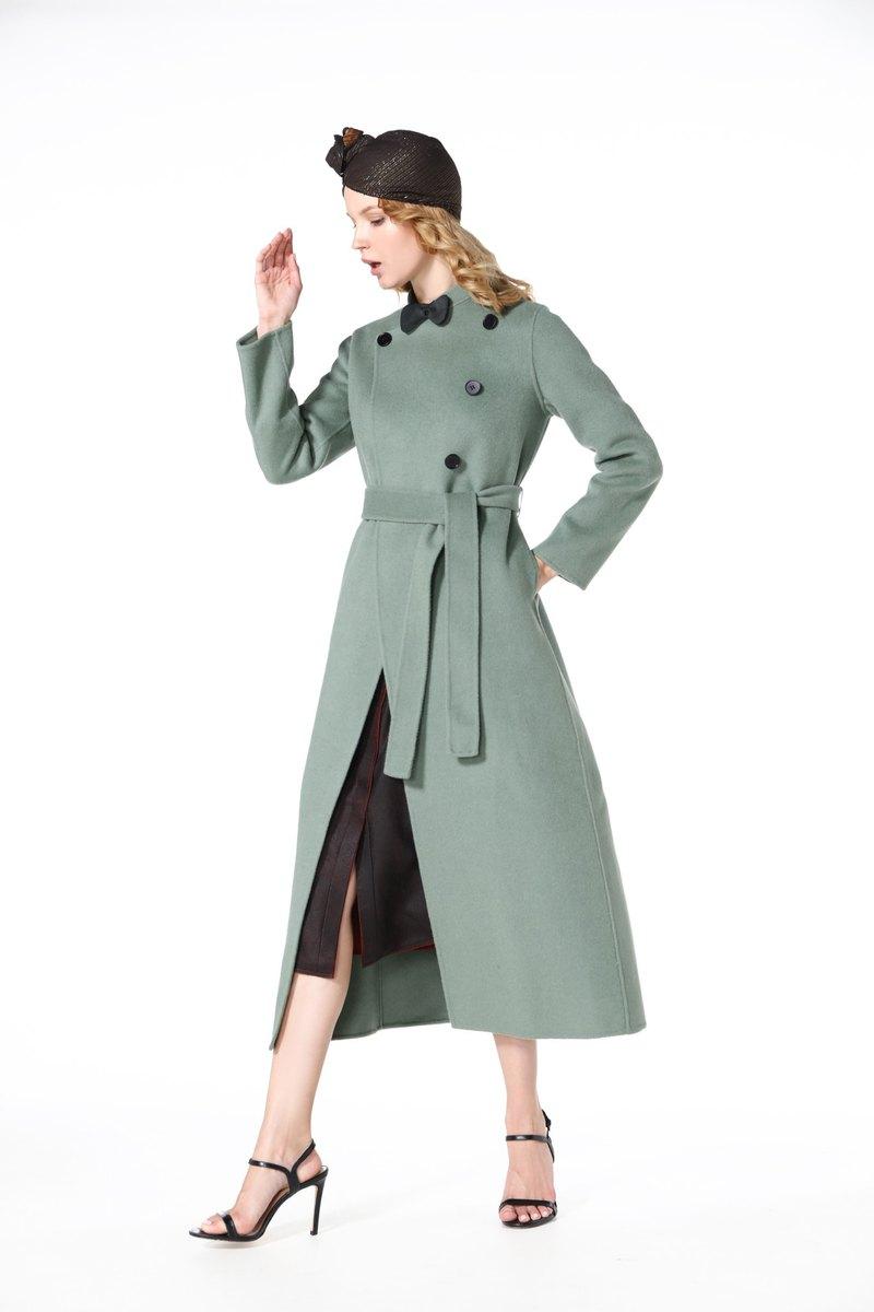 2019豆沙綠雙面山羊絨大衣羊絨外套手工客製結衣