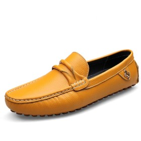 [dhiuebc] ドライビングシューズ メンズ ローファー スリップオン デッキシューズ 軽量 耐磨耗性 黄色 通気性 カジュアル 通勤用 ビジネスシューズ モカシン 23.5cm 靴 紳士靴 カジュアル ローカット職場用