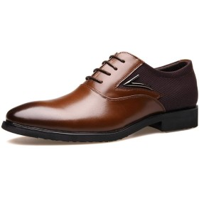 [xinsuinidong] 2019新しいメンズレザーシューズビジネスドレスは、単一の靴で男性の靴オフィスのウェディングドレスを指摘しました(ブラウン)25.0cm