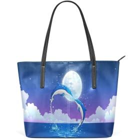 PUレザー トートバッグ 手提げ ハンドバッグ おしゃれ 肩掛けバッグ レディース 海 星空 月 イルカ 動物 大容量 a4 通勤 通学 かわいい