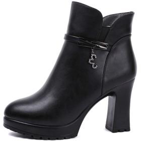 [KLIAN] ショートブーツ 美脚 ショート 黒(ボア) 24.5cm ブーツ 8cm太ヒール 秋冬 疲れにくい 太ヒール 袴 ブーツ 厚底 きれいめ 小さいサイズ 大きいサイズ レディースブーツ 厚底ブーツ