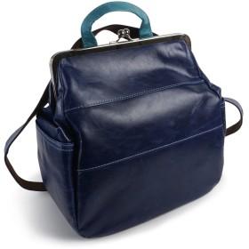 [パッカパッカ]バッグ リュック ショルダー 2WAY がま口 軽い 柔らかい 日本製 本革 馬革 鞄 丸型 女性 大人 キュート 大容量 軽量 paccapacca (ネイビー)