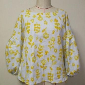 お花柄 ラウンドネックバルーン8分丈袖プルオーバー S~Mサイズ 薄いグレー色 受注生産
