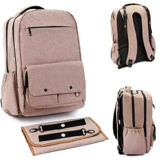 おむつバッグバックパック お母さんやお父さん用 交換マットと断熱ポケット US サイズ: L カラー: ベージュ