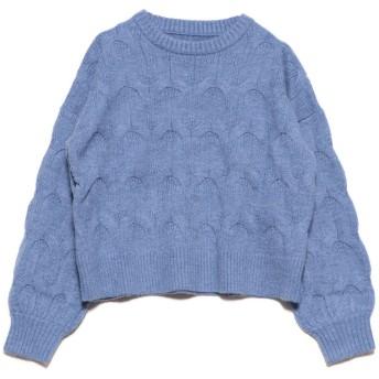 ドゥー ベル Doux Belle ケーブル編みセーター (ブルー)