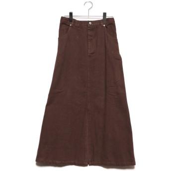 スタイルブロック STYLEBLOCK 起毛カツラギサイドタックロングスカート (ブラウン)