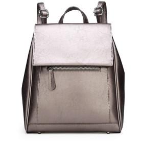 ファッションの女性のレザーファッションバックパックの肩ガール旅行大容量レジャーバックパック、シルバー