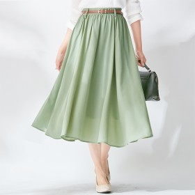 ベルーナ ベルト付ふんわり上品スカート ブルー 3L レディースオフィス フレアー カジュアル 高見え 大人女子 ベルト付 ふんわり ふわっと 上品 きれいめ