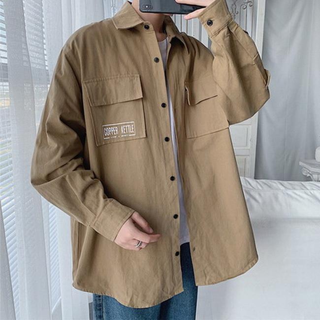 FOFU-外套純色襯衫長袖韓版印花工裝寬鬆長袖外套【08B-F0664】