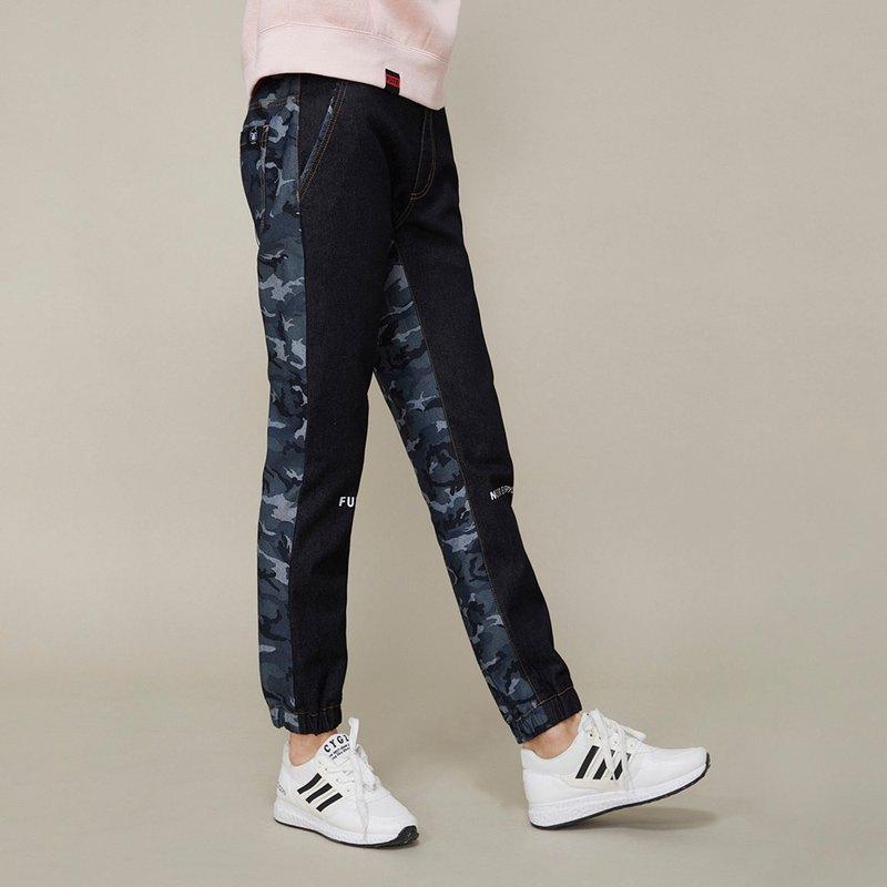 【中性款】迷彩拼接縮口牛仔褲 /藍黑色